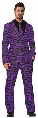 Bat Suit And Tie Adult Mens Halloween Costume md-xl Black Purple Cool Vampire - Suit And Tie Halloween Costumes