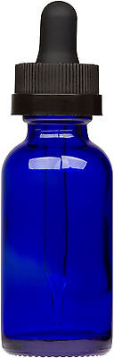Cobalt Blue Glass Bottle W Black Child Resistant Glass Dropper 1 Oz