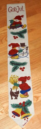 """Swedish Christmas Vintage Bell Pull (without bell!) 37 x 5.5"""" GOD JUL Hanging"""