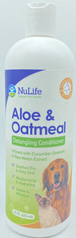 NuLife Aloe & Oatmeal Detangling Dogs Conditioner For Matted Hair 16oz