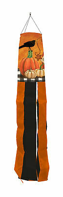 "Rustic Pumpkins Fall Windsock Primitive Crow 50""L Briarwood Lane"