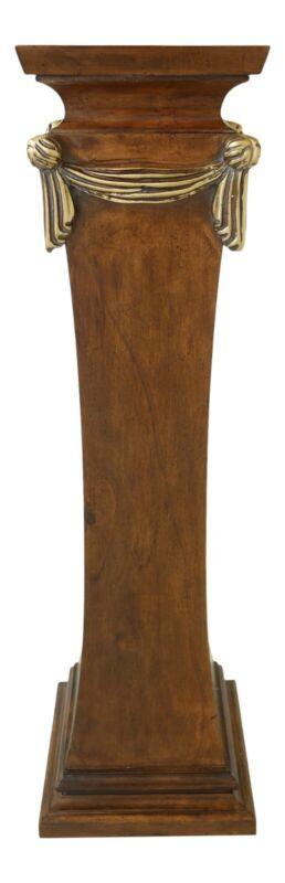 49429EC: Italian Regency Style Walnut Pedestal w. Gold Drape Carvings