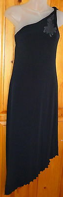 Slinky One Shoulder - LA BELLE Slinky One Shoulder Asymmetrical LITTLE BLACK DRESS Stretchy Size M