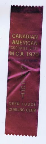 Deer Lodge Curling Club goodwill visit ribbon MCA 1970 Winnipeg Manitoba?