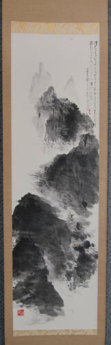 secluded mountain temple, hanging scroll