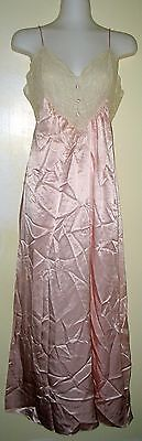 FANTASIES by MORGAN TAYLOR -PINK CREAM LACE POLYESTER NIGHTGOWN SLEEPWEAR - S - Fantasies Lace Nightgown