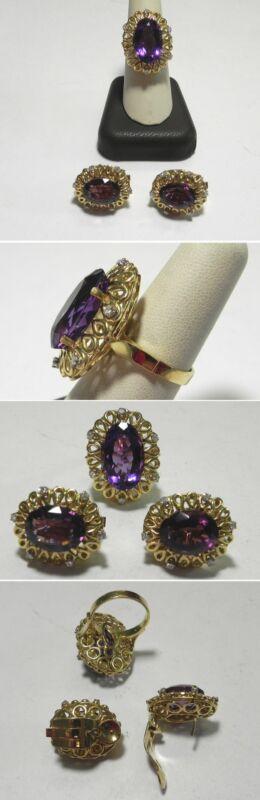 C1152 Vintage Handmade 18K Solid YG Amethyst Diamond Filigree Ring & Earring Set