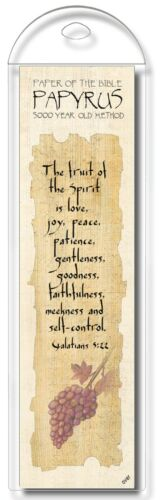 Authentic Papyrus Bookmark w Bible Verse-The Fruit of the Spirit is… Gal 5:22
