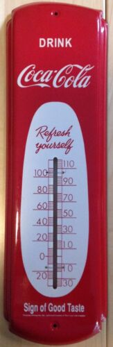 Coca-Cola Metal Thermometer ~ Vintage Style Advertising Soda Sign ~ Cigar