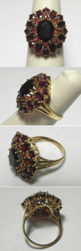 C1101 Vintage 18K Solid Yellow Gold  5.19ctw Garnet Cluster Cocktail Ring Sz 6