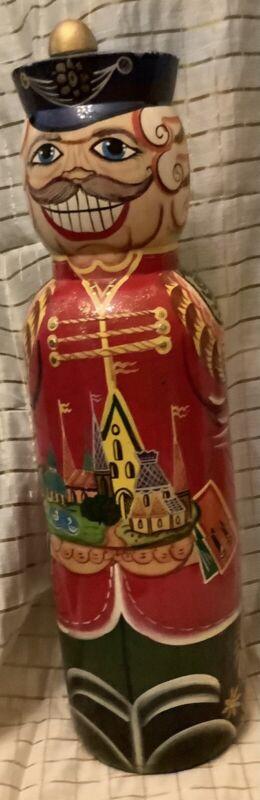 Russian Matryoshka Wood Nutcracker Wine Vodka Bottle Holder Nesting Doll