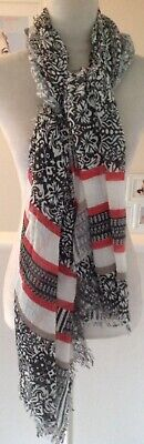 Black Ivory/Coral Pink Patterned Thin Linen Cheesecloth Cotton Neck Scarf -