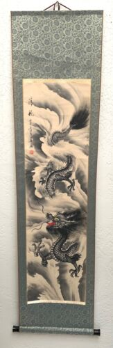 Vintage Japanese Hanging Scroll Kakejiku DRAGON Clouds Silk Paint Signed