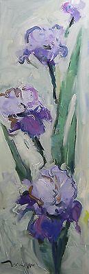 JOSE TRUJILLO ORIGINAL OIL PAINTING IMPRESSIONISM FLORAL IRISES FLOWERS 12X36