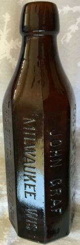 OCTAGON Blob Top Bottle JOHN GRAF MILWAUKEE WISconsin Embossed on 8 Sides MINT!
