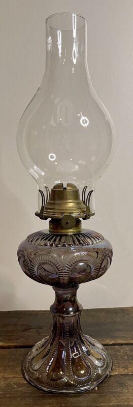 Rare Antique Imperial Zipper Loop Carnival Glass Oil Lamp