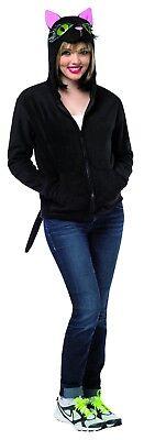 Funny Black Cat Hoodie Halloween Sweater Sweatshirt Easy Costume - Easy Black Cat Halloween Costume