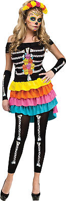 Day Of The Dead Themed Halloween Party (Day Of The Dead Adult Womens Costume Skeleton Dress Color Theme Party)