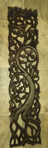 Vintage  Hand carved Wooden Panel wall or door decor