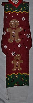 Gingerbread Kitchen (Hand Towel~Oven Mitt~Christmas Gingerbread Man~Holiday)