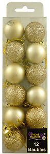 12 x 30mm Champagne Gold Mini Baubles - Matte + Glitter Finish - (DP214)