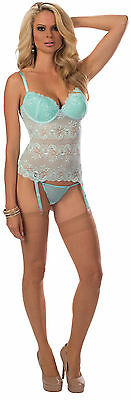 Beautiful Spring Mint Lace Bustier with Molded Underwire Cups by Escante