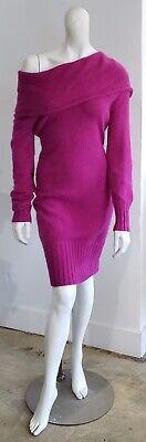 Hot Pink Angora Sweater Dress Off The Shoulder Cowl Open Back MODA -