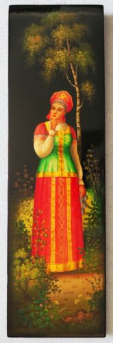 ◈ 1986 ORIGINAL Russian FEDOSKINO Lacquer Wall PLAQUE Panel NOT Box Hand Painted