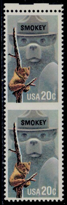 "#2096b ""smokey Bear"" Vertical Pair, Horizontal Imperf Major Error Bq5188"