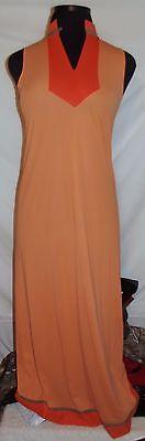 Vintage dark peach/orange nylon gown robe set Gossard Artemis small 38