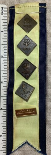 Vintage CUB SCOUTS Proud Parent RIBBON w/ PINS Handmade Award Boy Scout BSA Cubs