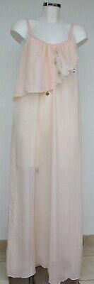 Nachtwäsche Böden (Damen Nachtwäsche Nachthemd Negligee Chiffon bodenlang transparent rosa 38 )