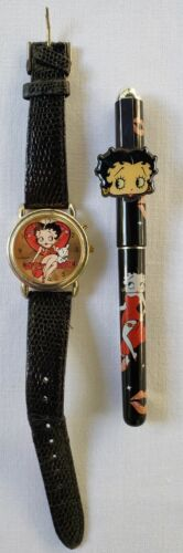 BETTY BOOP Lot of 2 Heart WATCH Valdawn and Black Ball Point PEN Vintage USED