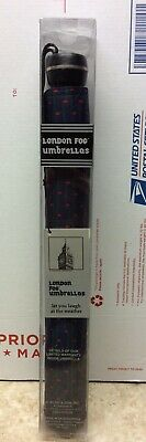 NEW! London Fog Automatic Full Size Umbrella Navy Green Pinstripe Red Diamonds