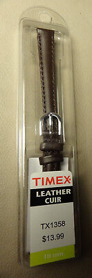 New Womens Timex Brown Genuine Leather Calf 10mm Watch Band Silver Tone (Womens Brown Genuine Leather)