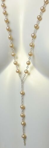 Vintage Sterling Silver 925 Coated Pearls Connectors Rosary Necklace Chain 34.2G