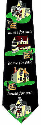 Houses For Sale Mens Neck Tie Real Estate Black Necktie Realtor Agent Gift New