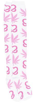 High Pink Socks (HUF Breast Cancer Plantlife Thigh High Socks Weed Leafs White Pink)