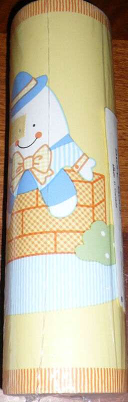 WALLPAPER BORDER wall nursery rhyme yellow blue Lambs & Ivy story book Storybook