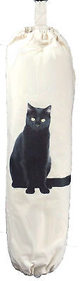 BLACK CAT DESIGN - CARRIER BAG HOLDER - Cream Cotton ()