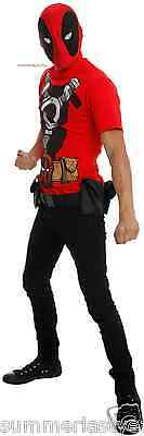 Deluxe Deadpool Cosplay Costume For Adults Incudes Mask And T-Shirt Free Ship
