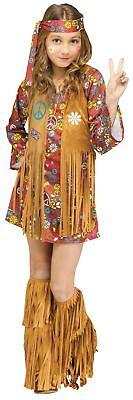 The Groovy 60's Hippie Child Girls Costume Dress Fringe Vest Flower Power