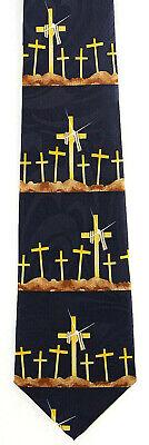 Easter Draped Cross Men's Necktie Religious Christian Crosses Blue Neck Tie - Easter Christian