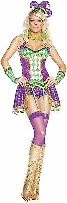 MARDI GRAS HARLEQUIN Jester Sequin Corset Collar Garter Shorts Glove Hat Dress M - Mardi Gras Harlequin Costume