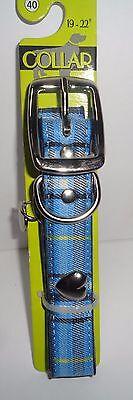 "Pet Wear Dog Collar Blue Plaid NWT 19-22"" Large Breed"