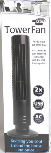 2 Speed USB Bladeless Tower Fan - Perfect for Home & Travel