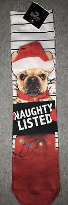 New Ladies Holiday Novelty Crew Socks DOG IN CHRISTMAS LIGHTS/NAUGHTY LISTED