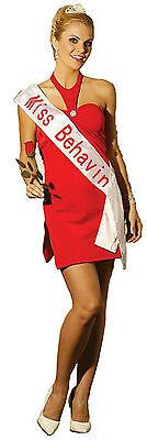 Beauty Contest Winner Miss Behavin Adult Sexy Costume Red Dress Size Medium 6-10](Costume Contests)