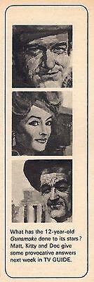 1968 TV GUIDE PROMO AD'S~GUNSMOKE TV WESTERN~AMANDA BLAKE~JAMES ARNESS