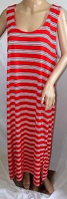 Just Love Women Plus Size 1x 2x 3x Maxi Striped Red White Sun T Shirt Dress Long